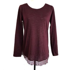 Lauren Conrad Maroon Long Sleeve Bow Back with Lace Sz S